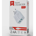 LTP-J8524-LIGHTNING - Chargeur 2 x USB iPhone / iPad avec câble Lightning de LTPLUS 1 mètre