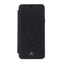 MEFLBKS9LDCLBK - Etui Galaxy S9+ Mercedes cuir noir avec logo métal