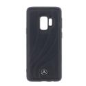 MEHCS9LDCLBK - Coque Galaxy S9 Mercedes cuir noir avec logo métal