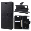 MERCURYBRAVO-IPXNOIR - Etui iPhone X Mercury Bravo logements carte fonction stand coloris noir