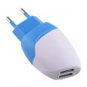 MILI-DOLPHINBLANC - Chargeur secteur 2 x USB 2.4 ampères banc et bleu