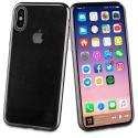 MLBKC0228-IPX - Muvit Coque Bling iPhone X/Xs contour souple noir et dos transparent
