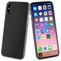 MUBKC0948-IPX - Muvit Coque iPhone X/Xs souple texture carbone noir
