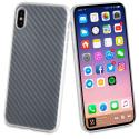 MUBKC0949-IPX - Muvit Coque iPhone X/Xs souple texture carbone translucide