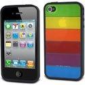 MUBMC0001-IP4 - Coque bimatière noire et arc en ciel iPhone 4S