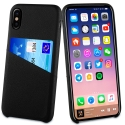 MUCRC0012-IPX - Muvit Coque iPhone X logement carte aspect cuir noir