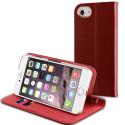 MUFIT0004-IP7BORD - Etui iPhone 7/8 cuir bordeaux rabat latéral avec logements cartes
