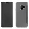 MUFLC0153-S9NOIR - Etui Galaxy S9 Muvit Folio-Case rabat noir et dos tranparent