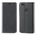 MUFLS0182-PSMART - Etui Huawei P-Smart Muvit Folio-Stand noir rabat latéral avec logements cartes