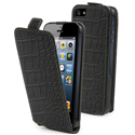 MUSLI0078-IP5 - Etui clapet Slim noir croco iPhone 5 et film écran
