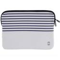 MW-410066-PRO13P - Pochette zippée MacBook Pro 13 pouces marinière blanche - mousse protectrice