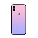 NXE-IPXSMAXDEGRAROSEVIO - Coque contour souple iPhone XS MAX avec dos verre trempé dégradé rose violet