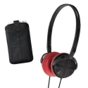 PACKCAPSUKN - Casque So-London noir avec coussinets rouges et motif UK noir
