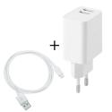 PACKSEC-IP2A - Chargeur iPhone 2 parties avec câble + prise secteur 2xUSB 2A coloris blanc