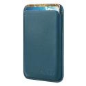 PORTECARTE-BLEU - Porte cartes magnétique MagSafe en cuir bleu pour iPhone 12/13