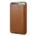 PORTECARTE-MARRON - Porte cartes magnétique MagSafe en cuir marron pour iPhone 12/13