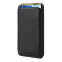 PORTECARTE-NOIR - Porte cartes magnétique MagSafe en cuir noir pour iPhone 12/13