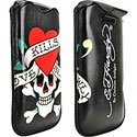 HEDHARDY_LOVEKILL - Etui Cuir Noir Ed Hardy iPhone 4 Love kills Slowly