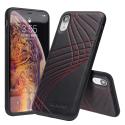 QIALINO-IPXRCOUTURED - Coque iPhone XR en magnifique cuir noir coutures rouges
