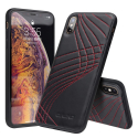 QIALINO-IPXSMAXCOUTURED - Coque iPhone Xs MAX en magnifique cuir noir coutures rouges