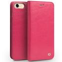 QIALINO-WALLETIP7ROUGELISSE - Housse Etui iPhone 7/8 en magnifique cuir rouge avec rabat latéral