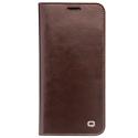 QIALINO-WALLETIPXMARRON - Housse Etui iPhone X en magnifique cuir marron lisse rabat latéral