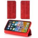 RETROWALL-IPXROUGE - Etui iPhone X rabat latéral rouge fonction stand
