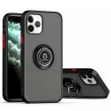 RINGO-IP11 - Coque iPhone 11 antichoc contour souple noir et dos aspect givré fumé avec anneau articulé
