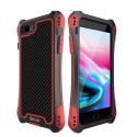 RJUST-SHOCKIP7PLUSROUGE - Coque iPhone 7+/8+ R-Just ShockProof noir rouge métal + carbone