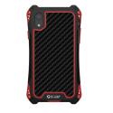 RJUST-SHOCKIPXRROUGE - Coque iPhone XR R-Just ShockProof noir rouge métal + carbone
