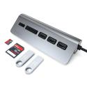 SATECHI-TCHCRM - Satechi HUB Type-C 3xUSB et lecteur cartes mémoire gris foncé