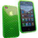 SOFTYDIAMVERTIP4 - Housse Coque diamants vert translucide pour iPhone 4