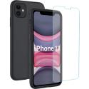 SILIGLASS-IP11NOIR - Pack 2en1 Coque + Vitre protection écran pour iPhone 11 coloris noir