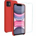SILIGLASS-IP11ROUGE - Pack 2en1 Coque + Vitre protection écran pour iPhone 11 coloris rouge
