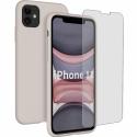 SILIGLASS-IP11TAUPE - Pack 2en1 Coque + Vitre protection écran pour iPhone 11 coloris taupe