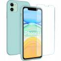 SILIGLASS-IP11TURQUOISE - Pack 2en1 Coque + Vitre protection écran pour iPhone 11 coloris turquoise