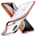 SOFTBRUSH-IPXSMAXROUGE - Coque souple iPhone XS Max contour rouge dos transparent