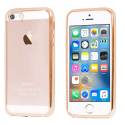 SOFTBRUSHGOLDIP5S - Coque souple iPhone SE contour gold et dos transparent