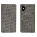 SSFLS0002-GRIS - Etui iPhone X/Xs SoSeven Premium Gentleman Book Case Fabric gris