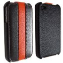 STPCOLOR-IP4-NOOR - Etui StripColor noir orange pour iPhone 4
