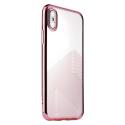 SULADA-BRUSHIPXROSE - Coque souple iPhone X/Xs en gel TPU transparent et rose doré
