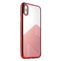 SULADA-BRUSHIPXROUGE - Coque souple iPhone X/Xs en gel TPU transparent et rouge