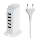 TOWER-USB6ABLANC - Chargeur secteur familial 5 prises USB blanc 30W