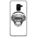 TPU0A82018VIEUSINGECASQ - Coque souple pour Samsung Galaxy A8 2018 avec impression Motifs singe avec casque