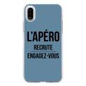 TPU0IPHONEXAPEROBLEU - Coque souple pour Apple iPhone X avec impression Motifs l'apéro recrute bleu
