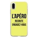 TPU0IPHONEXAPEROJAUNE - Coque souple pour Apple iPhone X avec impression Motifs l'apéro recrute jaune