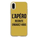 TPU0IPHONEXAPEROOR - Coque souple pour Apple iPhone X avec impression Motifs l'apéro recrute or