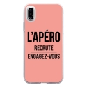 TPU0IPHONEXAPEROROSE - Coque souple pour Apple iPhone X avec impression Motifs l'apéro recrute rose