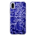 TPU0IPHONEXARABESQUEBLEU - Coque souple pour Apple iPhone X avec impression Motifs arabesque bleu