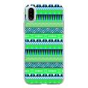 TPU0IPHONEXAZTEQUEBLEUVER - Coque souple pour Apple iPhone X avec impression Motifs aztèque bleu et vert